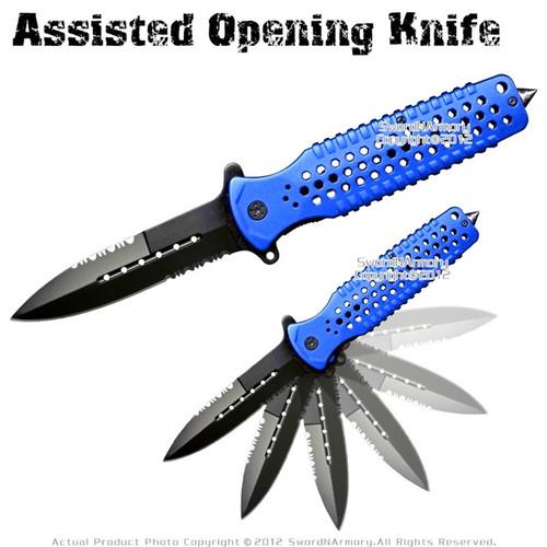 Serrated Spring Assisted Open Folding Knife Pocket Folder Surgical Steel Blue