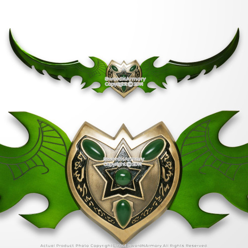 "49"" Fantasy Anime Sword Green Blade Shield Cosplay Video Game Weapon"