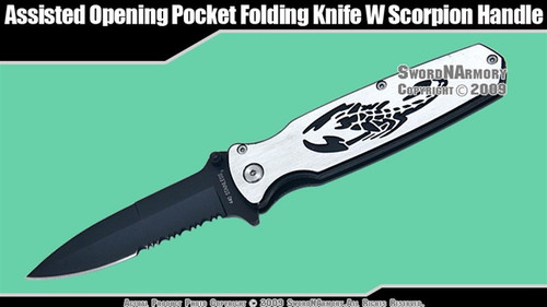 Spring Assisted Opening Knife Pocket Folder w/ Scorpion Handle