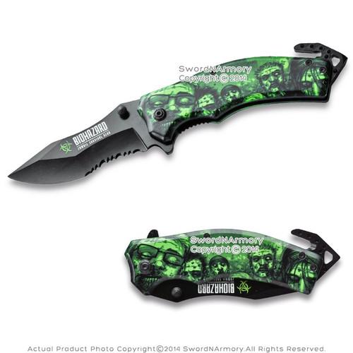 Walking Dead Licensed Assist Open Folding Knife Zombie Survival Gear Belt Cutter