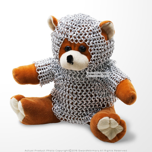 Cute Doll Bear with Medieval Chainmail Armor Stuffed Plush Toy Renaissance Gift