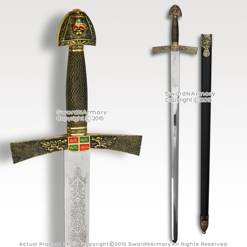 "40"" Ivanhoe Medieval Knight Crusader Arming Sword Stainless Steel Blade w/ Scab"