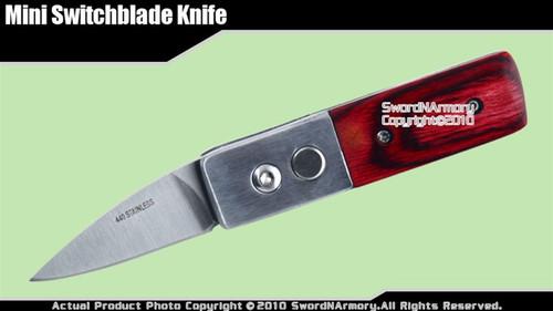 "Mini Switchblade Knife w/ Wood Handle 1.95"" Long Blade"