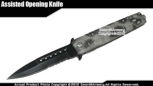 Stiletto Style Spring Assisted Opening Folder Pocket Folding Knife Steel Punch