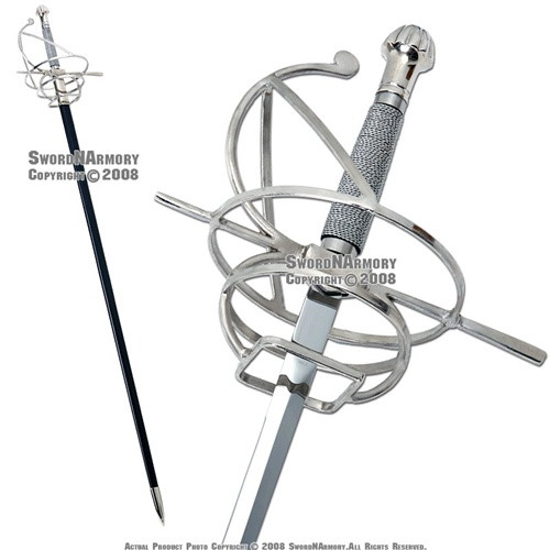 Renaissance Rapier Fencing Sword With Wire Wrapped Swept Hilt Guard