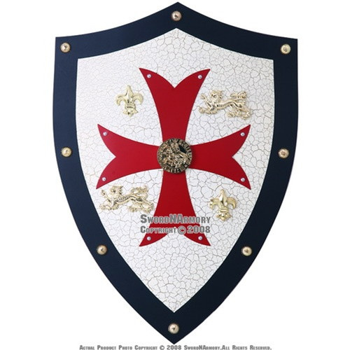 Knight Templar Royal Crusader Shield Red Cross With Grid