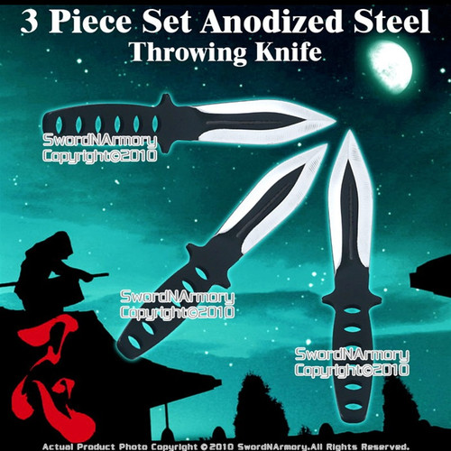 3 Pcs Set Anodized Steel Throwing Knife Dart w/ Sheath