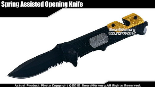 Gold Assisted Opening Knife Police Rescue Tactical Pocket Folder w/ Glass Punch