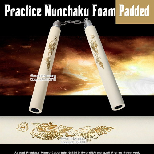 White Dragon Foam Padded Nunchaku W/ Steel Swivel Chain