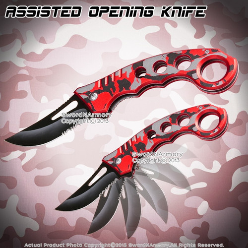 Spring Assisted Opening Pocket Folder Tactical Karambit Knife Two Tone Handle RD