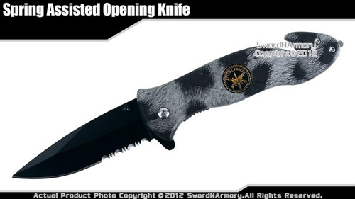 Black US Special Forces Camo Spring Assisted Open Pocket Folding Rescue Knife