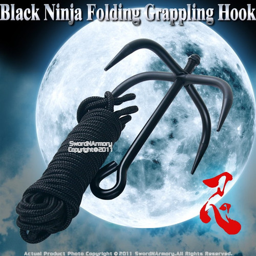 Black Ninja Folding Grappling Hook W/ 33 Foot Rope