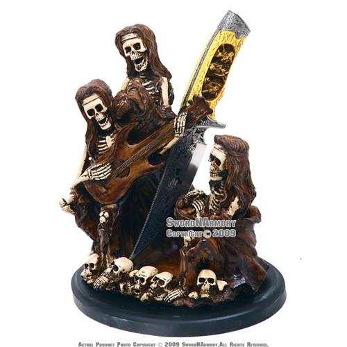 Rocking Reaper Full Band Statue W/ Dagger & Bowl