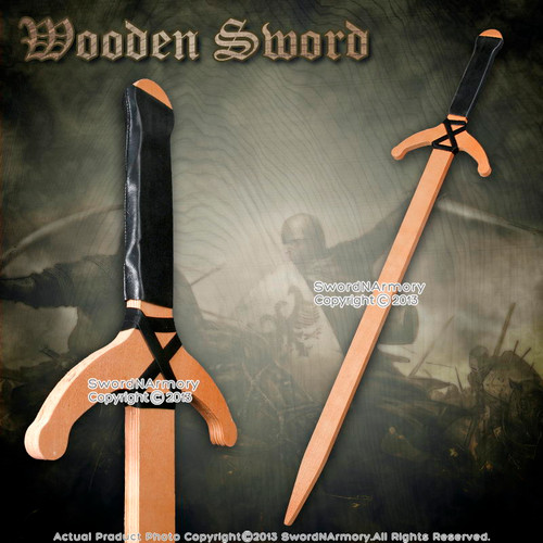 "37"" Wooden Medieval Arming Sword Plywood Design for Cosplay Reenactment"