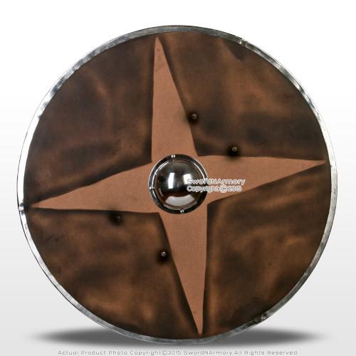 "Functional 30"" Wooden Viking Round Shield 16G Umbo LARP Medieval Renaissance"
