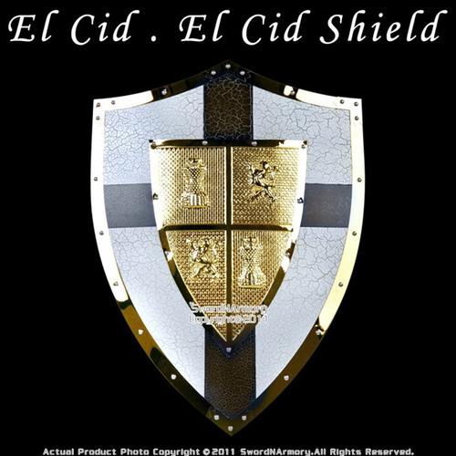 Medieval El Cid Shield Knight Armor Steel With Cross