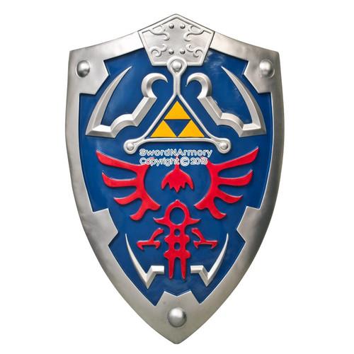 "24.5"" Long Blue Large Link Hylian Shield Legend of Zelda w/ Sword Holder & Strap"