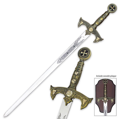 "47"" Medieval 12th Century Knights Templar Crusader Sword with Plaque Bronze"