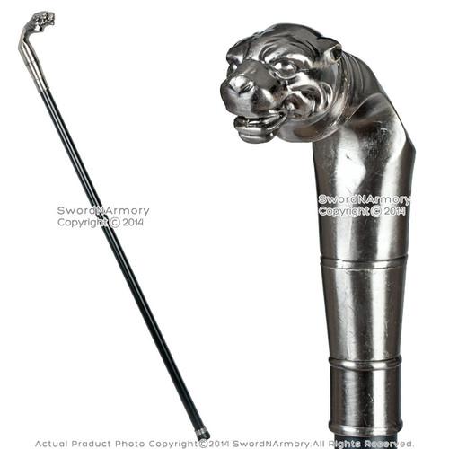 """35"""" Panther Handle Fantasy Gentlemen's Walking Cane Stick Metal Shaft No Blade"""
