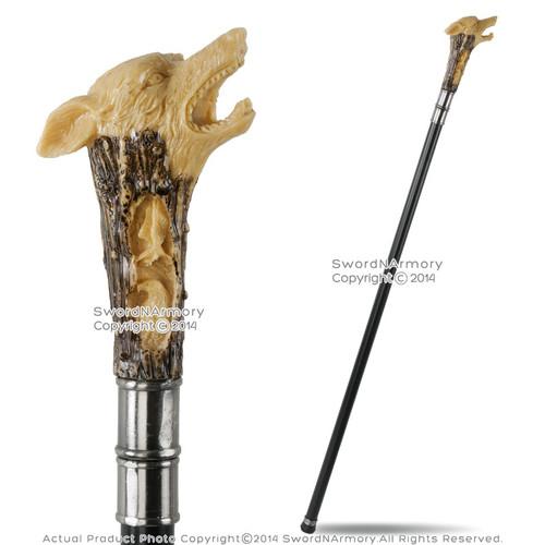 "34"" Fierce Wolf Head Handle Steel Shaft Fantasy Walking Stick Gentleman's Cane Decorative Display"