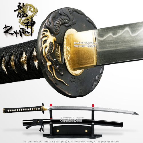 Ryujin 1095 Blade Hand Forged Samurai Katana Sword w/ Gold Plated Dragon Tsuba