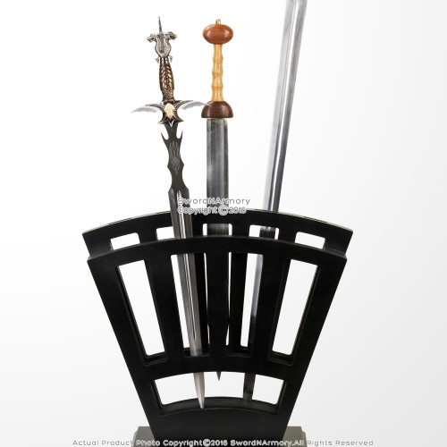 Black Wooden Vertical Display Stand Holds 9 Medieval Swords