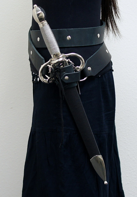 Black Leather Double Round Medieval Style Sword Belt with Frog