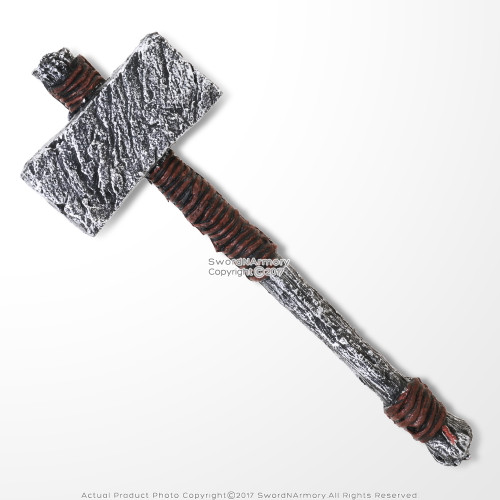 "25"" Viking Prehistoric Bronze Age Foam Hammer LARP Cosplay God of Thunder Costume Prop Accessory"