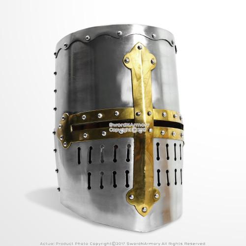Functional Medieval Crusader New Knight's Helmet Steel w/ Leather Liner LARP SCA Renaissance Reenactment Costume
