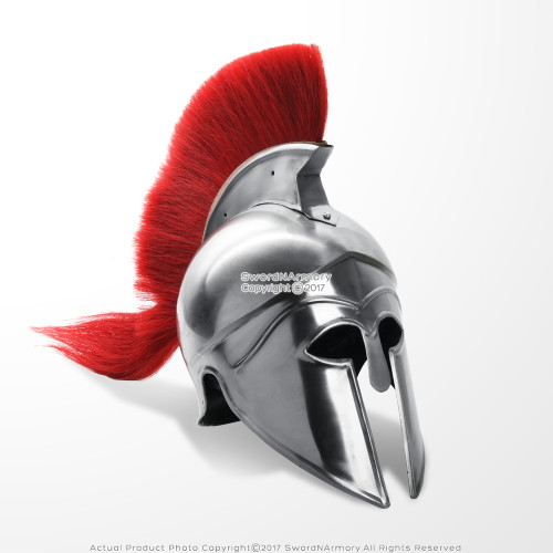 Greek Corinthian Spartan Helmet Medieval Helm with liner Red Crest LARP Cosplay Reenactment