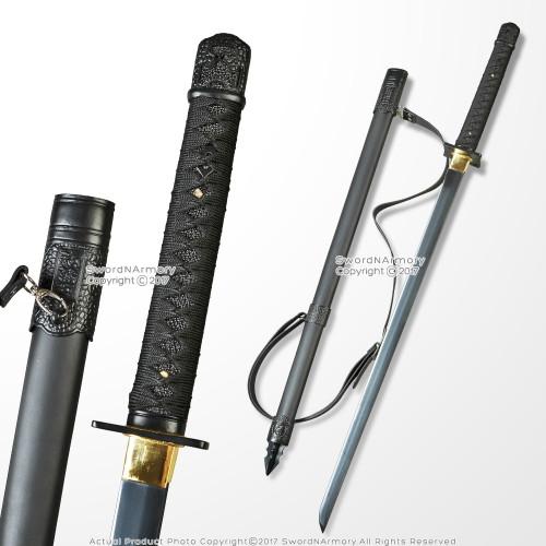 Shinobi Ninja Sword Hand Honed Sharp Edge Black Blade with Back Carrying Strap