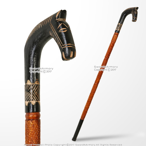 "36"" Polished Handcrafted Eucalyptus Wooden Walking Stick with Horse Handle Decorative Cane"