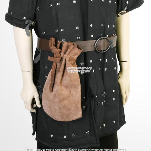 Medieval Pagan Reenactment Money Bag In Suede Brown