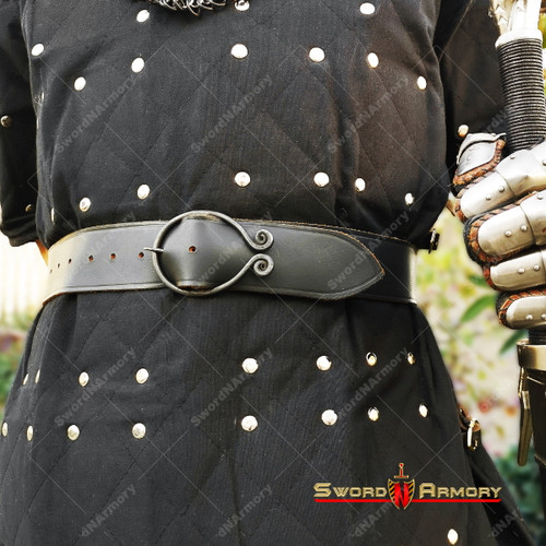 Dark Age Medieval Belt with Hand Forged Iron Belt Buckle Renaissance Costume