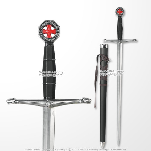 Medieval Crusader Dagger Knights of Templar Sword With Hand stitched faux leather wrapped scabbard