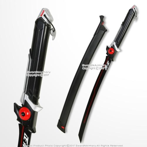 GENJI RED Anime Wakizashi Short Katana Sword OW Video Game Weapon Cosplay