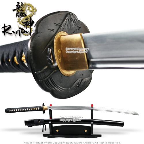 Ryujin 1095 DH Blade Hand Forged Katana Sword with Bohi 1045 Steel Dragon Tsuba