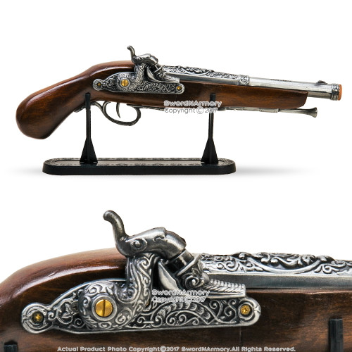 "17"" Naval Pirate Gun Flint Lock Blunderbuss Die Cast Replica Decorative Pistol"