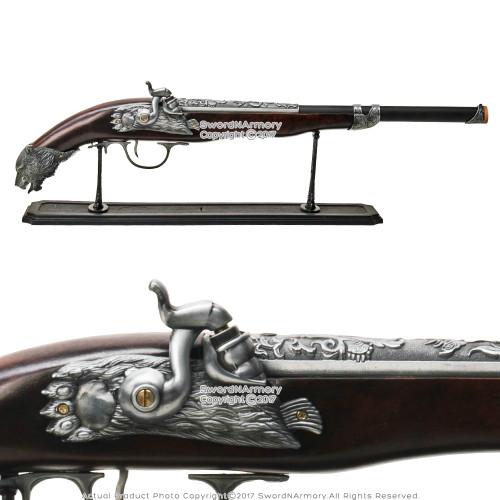 "25"" Naval Pirate Gun Flint Lock Blunderbuss Die Cast Replica Decorative Pistol"
