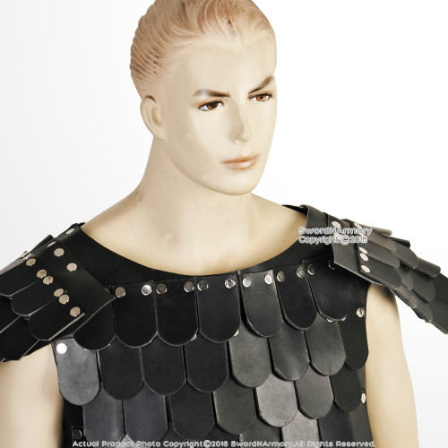 Medieval Viking Leather Round Scale Cuirass Riveted Armor LARP Cosplay