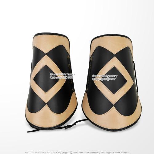 Set of 2 Medieval Knight Ornamental Leather Bracer LARP Cosplay Renaissance Fair