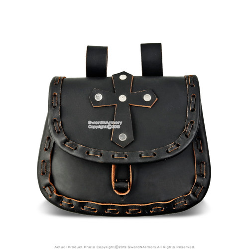 Medieval Paladin Black Genuine Leather Belt Pouch w/ Cross Reenactment SCA LARP