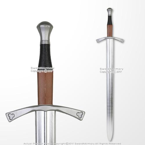 "40"" Medieval Hand and a Half Foam Arming Sword Metallic Chrome Blade Cosplay LARP"