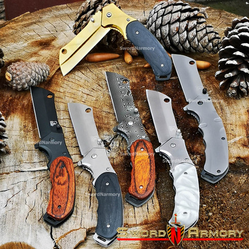 """8"""" Falcon Tactical Classic Spring Assisted Stainless Steel Handle Razor Pocket Knife Cleaver Style"""