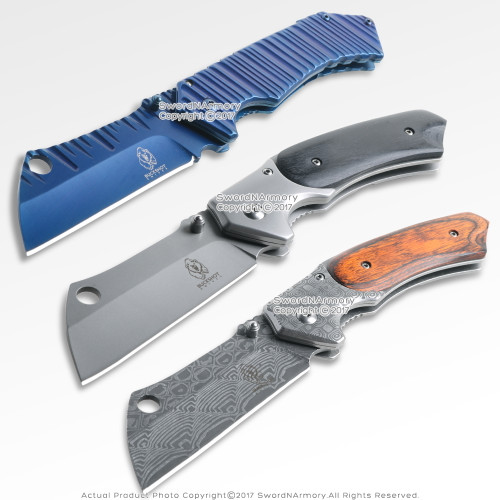 Cleaver Style Razor Blade Spring Assisted Pocket Folding Knife