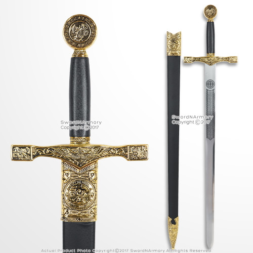 """32"""" King Arthur Gold Excalibur Sword with Scabbard Medieval Renaissance Cosplay"""
