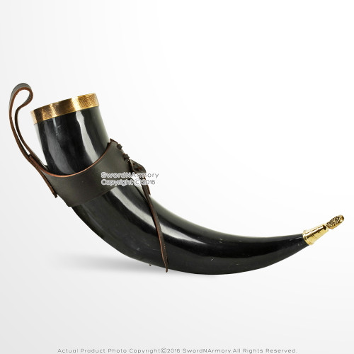 Medieval Style Viking Drinking Horn Cup with Leather Hanger Renaissance Costume