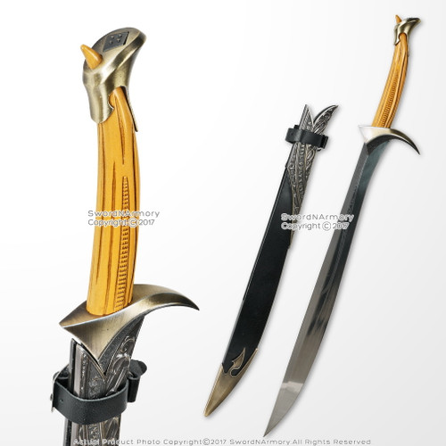 "28.5"" Fantasy Anime Curved Elven Sword Goblin Cleaver Long Knife Stainless Steel Short Sword Sharp Edge"