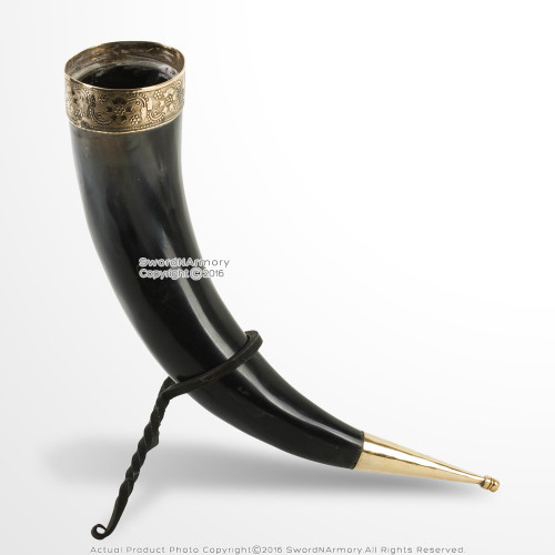 Medieval Viking Ceremonial Drinking Horn w/ Brass Fitting and Iron Display Stand