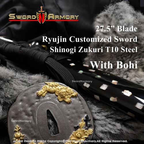 """CSR272 - Ryujin Customized Sword - Shinogi Zukuri T10 Steel T910141- 27.5"""" Blade / 11.5"""" Handle with Bohi"""